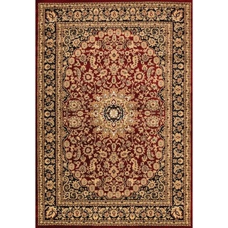 Renaissance Red/Black Traditional Medallion Area Rug (5'3 x 7'7)