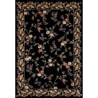Renaissance Black Floral Border Area Rug (5'3 x 7'7)