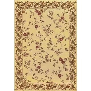 Renaissance Beige Floral Border Area Rug (5'3 x 7'7)