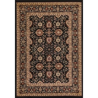 Renaissance Black Traditional Print Area Rug (5'3 x 7'7)