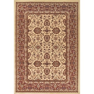 Renaissance Cream/Red Traditional Print Area Rug (5'3 x 7'7)