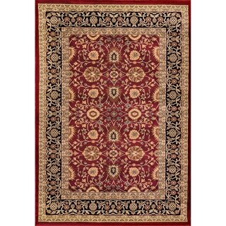 Renaissance Red/Black Traditional Print Area Rug (5'3 x 7'7)