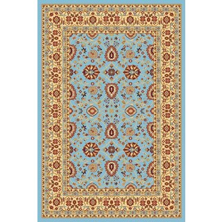Renaissance Blue/Cream Traditional Print Area Rug (5'3 x 7'7)