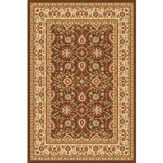 Renaissance Brown/Cream Traditional Print Area Rug (5'3 x 7'7)