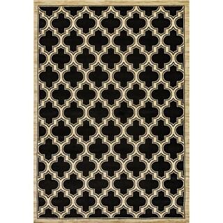 Renaissance Black Lattice Area Rug (5'3 x 7'7)