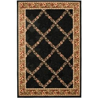 Renaissance Black/Brown Floral Lattice Area Rug (5'3 x 7'7)