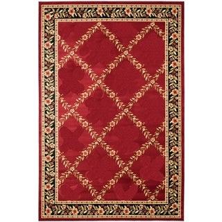 Renaissance Red Floral Lattice Area Rug (5'3 x 7'7)