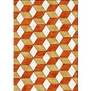 Juniper 3D Boxes Orange Area Rug (3' x 5')