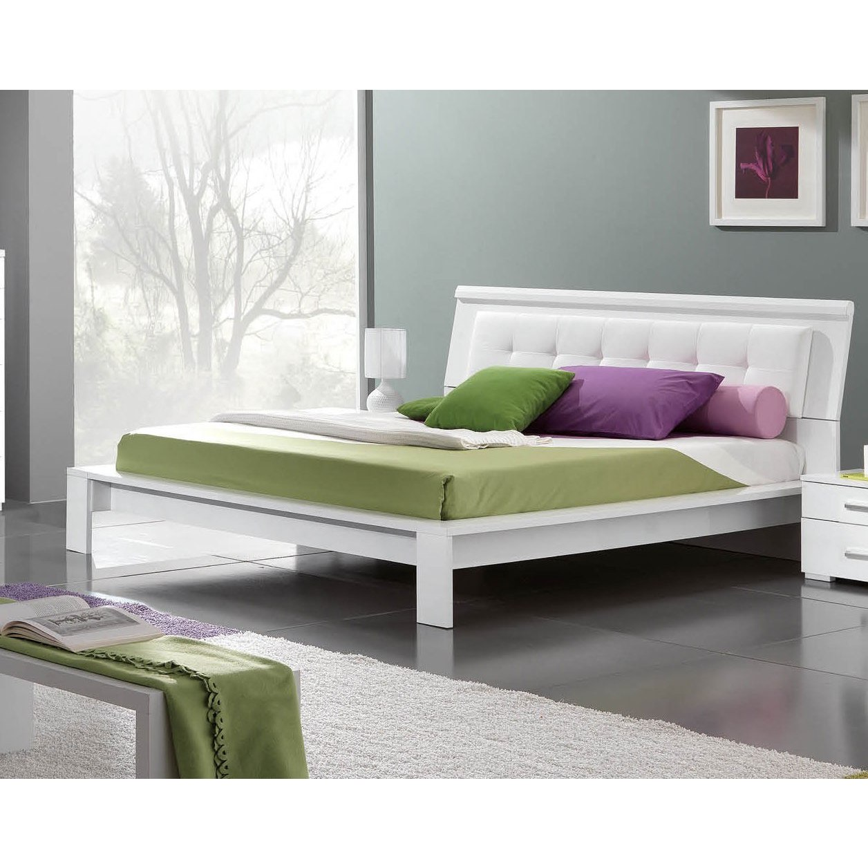 Luca Home Contemporary White Platform Bed (Brown - Queen)