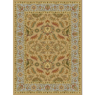 Renaissance Light Beige Traditional Border Area Rug (5'3 x 7'7)