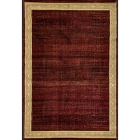 Renaissance Red Contemporary Border Area Rug