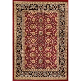 Renaissance Red/Black Traditional Print Area Rug (7'10 x 10'10)