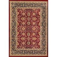 Renaissance Red/Black Traditional Print Area Rug - 7'10 x 10'10