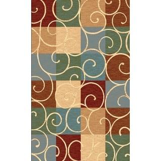 Renaissance Swirled Color Block Area Rug (5'3 x 7'7)