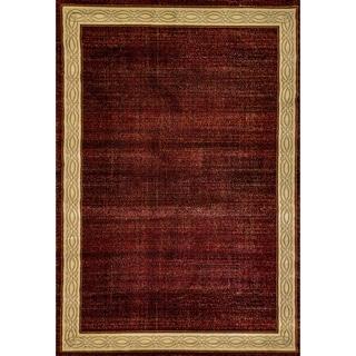 Renaissance Red Contemporary Border Area Rug (7'10 x 10'10)