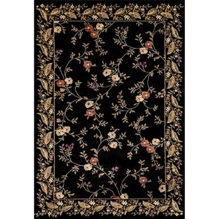 Renaissance Black Floral Border Area Rug (7'10 x 10'10)
