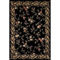 Renaissance Black Floral Border Area Rug - 7'10 x 10'10