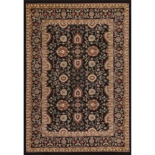 Renaissance Black Traditional Print Area Rug (7'10 x 10'10)