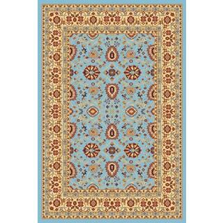 Renaissance Blue/Cream Traditional Print Area Rug (7'10 x 10'10)