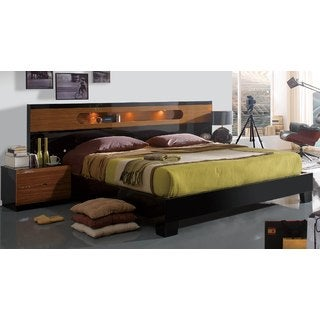 Luca Home Black/Walnut Glossy Bed