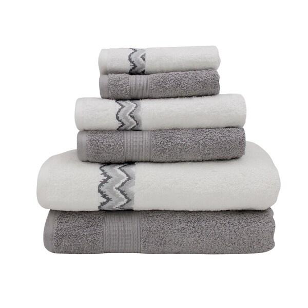 Amrapur Overseas Combed Cotton 6-piece Towel Set with Chevron Border