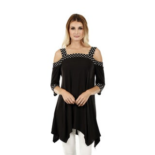 Firmiana Women's 3/4 Sleeve Black Polka Dot Top