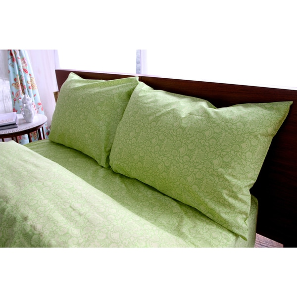 Amy Butler for Welspun Organic Cotton Sair Bloom Green Floral Sheet Set