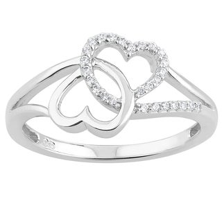 10k White Gold 1/10ct TDW Diamond Double Heart Promise Ring