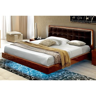 Luca Home Walnut with Black Eco Leather Bed