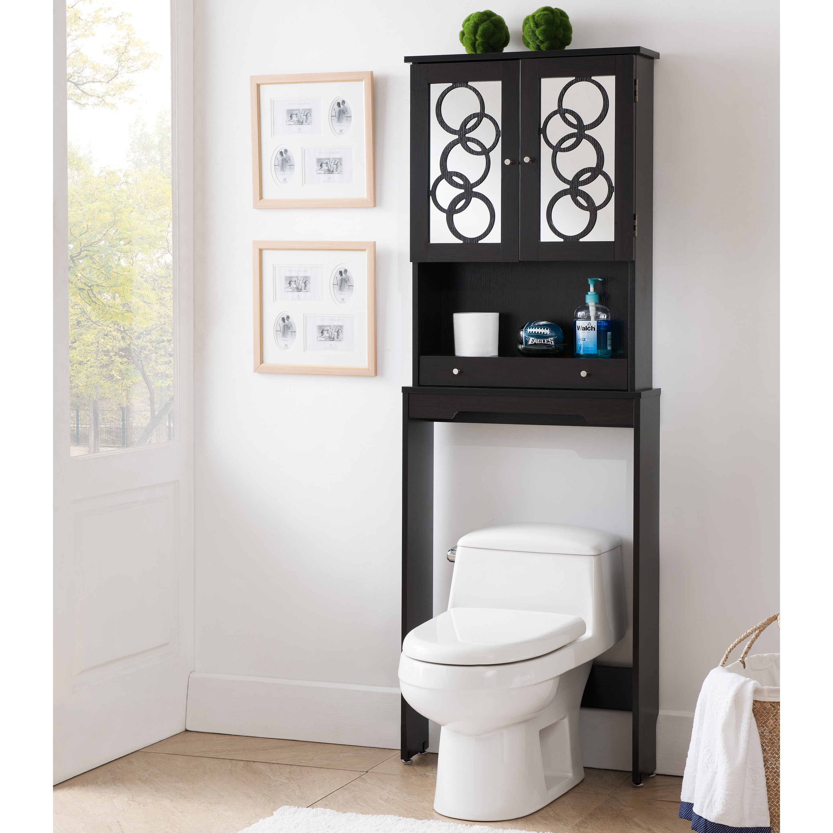 Furniture Of America Landers Modern Space Saver Cabinet (Option: Cappuccino)