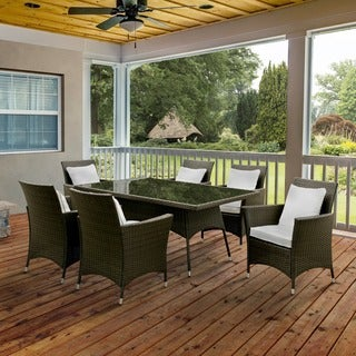 Furniture of America Allyn Espresso 7-piece Wicker Inspired Outdoor Patio Set