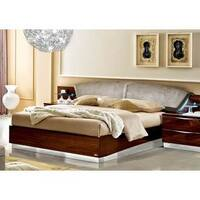 Luca Home Walnut and Nabuk Italian Leather Bed