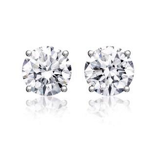 14k White Gold 1 1/2ct TDW Round Diamond Stud Earrings