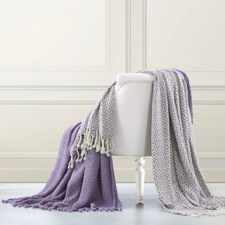 Amraupur Overseas 100-percent Cotton Picasso Throws (Set of 2) (Option: Lavender)