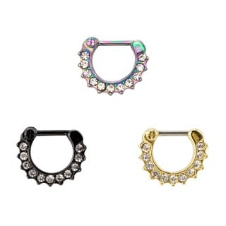 Supreme Jewelry Surgical Steel Cyrstal Septum Clicker