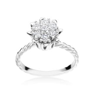 SummerRose 14k White Gold 1/2ct TDW Diamond Flower Ring ( H-I, SI1-SI2)