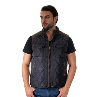 Men's Quilted Fur Lined Side Cargo Pockets Zip Up Vest