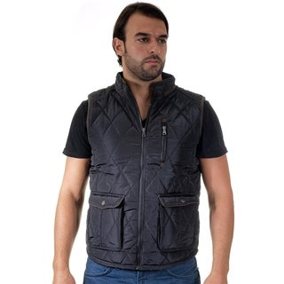 Men's Quilted Fur Lined Zip Up Pleather Piping Vest