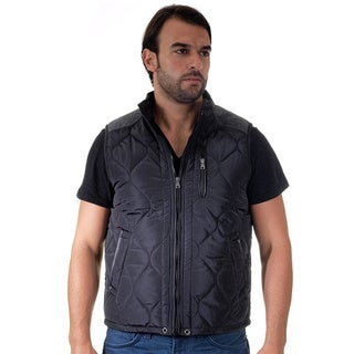 Men's Quilted Fur Lined Side Zipper Zip Up Vest