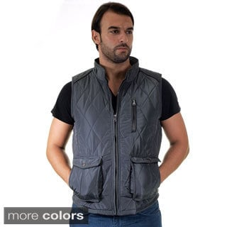 Men's Quilted Fur Lined Side Cargo Pocket/ Chest Zip Pocket Vest