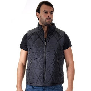 Men's Quilted Fur Lined Contrast Pleather Zip Up Vest