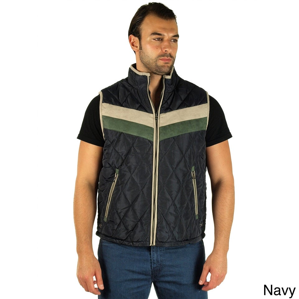 Rock Revolution Men's Quilted Fur Lined Stripe Chest Zip ...