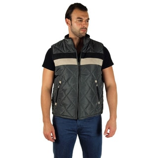 Men's Quilted Fur Lined Chest Stripe Zip Up Vest