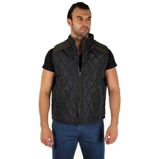 Men's Quilted Fur Lined Side Zipper Pockets Zip Up Vest
