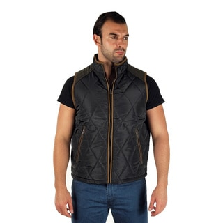 Men's Quilted Fur Lined Side Cargo Pocket and Chest Zipper Pocket Zip Up Vest