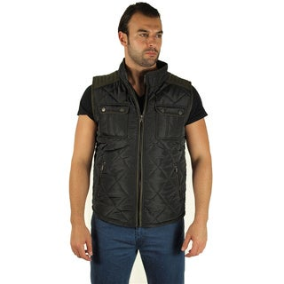 Men's Quilted Fur Lined Pleather Piping Cargo Pocket Zip Up Vest