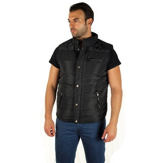 Men's Quilted Fur Lined Side Zip/ Cargo Pocket Zip Up Vest