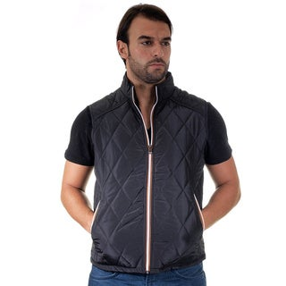Men's Quilted Fur Lined Side Zippers Pleather Piping Zip Up Vest