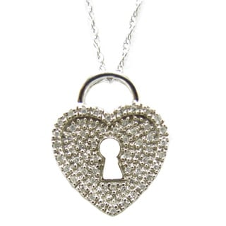 14k White Gold 1/5ct TDW Diamond Heart 18-inch Necklace (G-H, SI1-SI2)