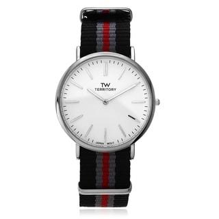 Territory Men's Silvertone White Dial Strap Watch